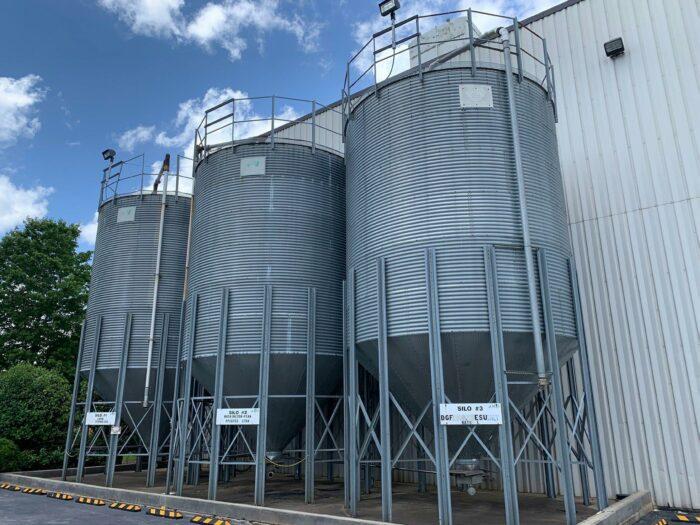 used plastic pellet storage silos