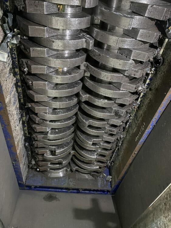 used 100 hp shred tech model st100 dual shaft shredder