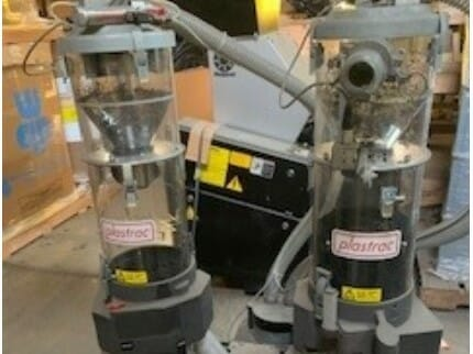 used plastrac model gf-402 two component gravimetric blender with integral loaders