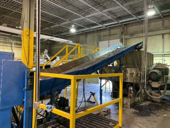 "used 38"" x 250"" eec controls incline conveyor"