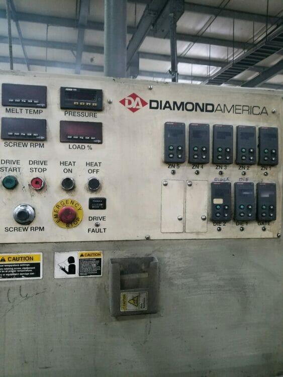 "Used 4.5"" Diamond America 30:1 L/D Single Screw Extruder"